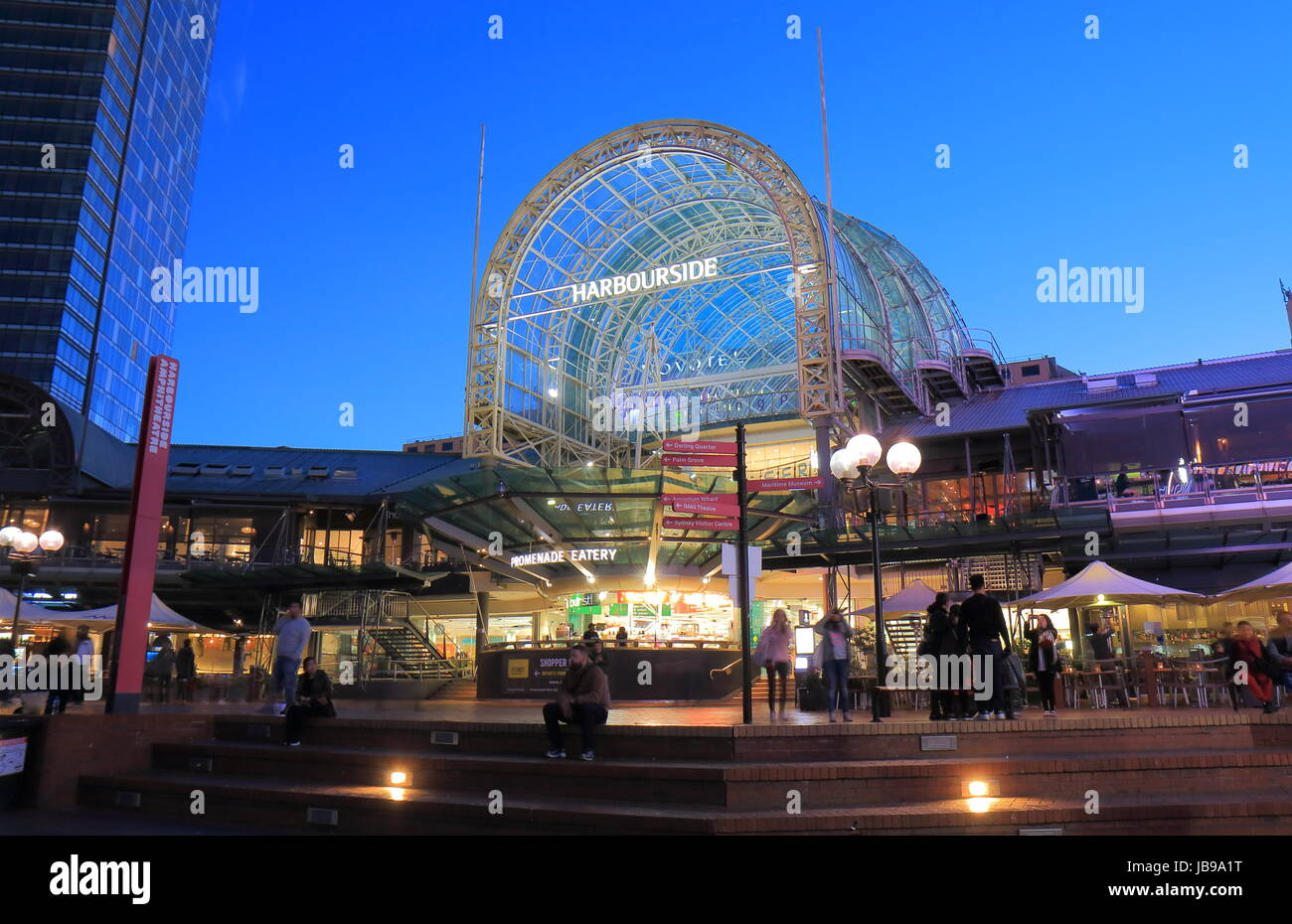 People visit Darling Harbour Harbourside in Sydney Australia. - Stock Image