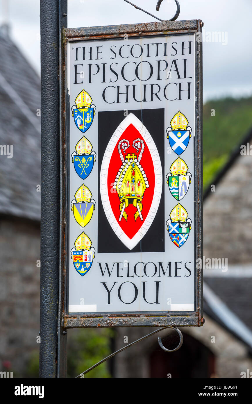 Sign of the Scottish Episcopal Church at Glencoe, Lochaber, Scottish Highlands, Scotland, UK - Stock Image