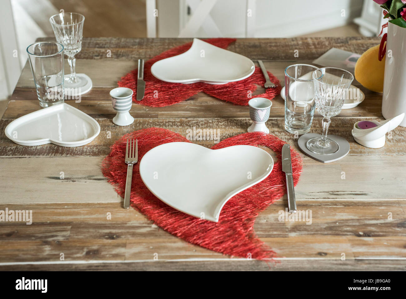 Valentines Day Dinner With Setting Romantic Love For Two Wooden
