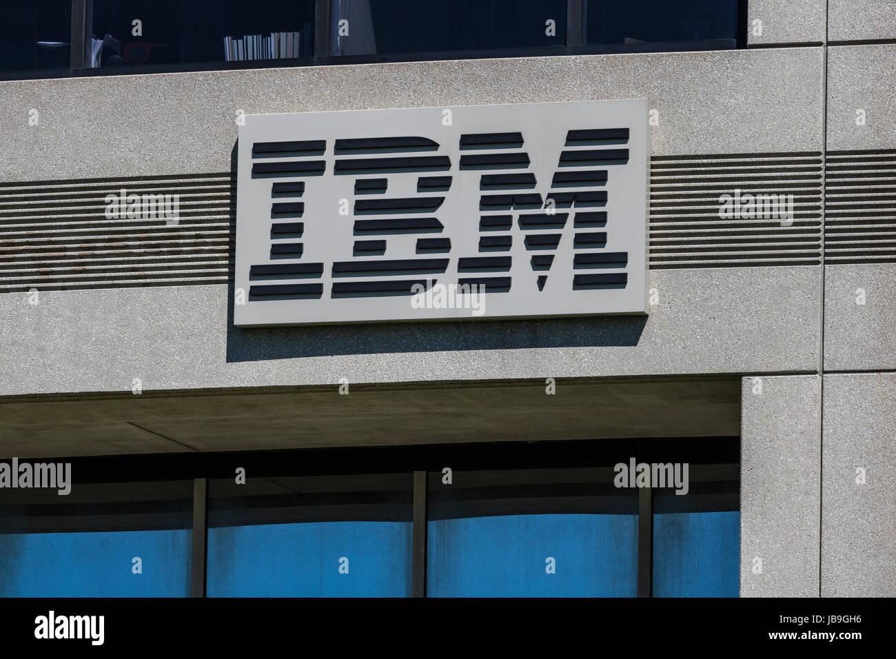 Indianapolis - Circa June 2017: IBM signage and logo. International Business Machines pioneered the PC, ATM and - Stock Image
