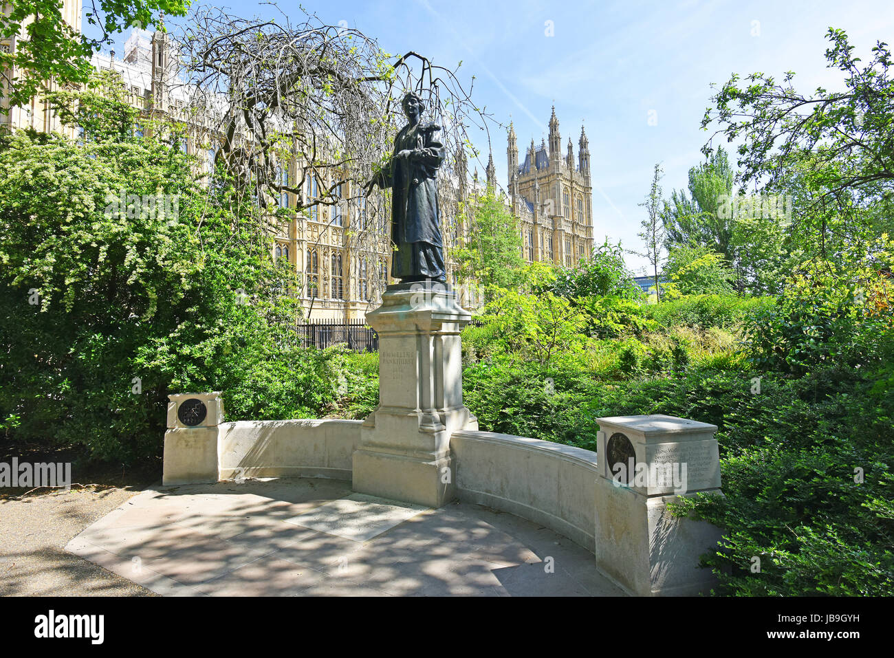 Women's Sufferage Memorial to Dame Christabel and Mrs. Emmeline Pankhurst leaders of The Militant Suffrage Campaign - Stock Image