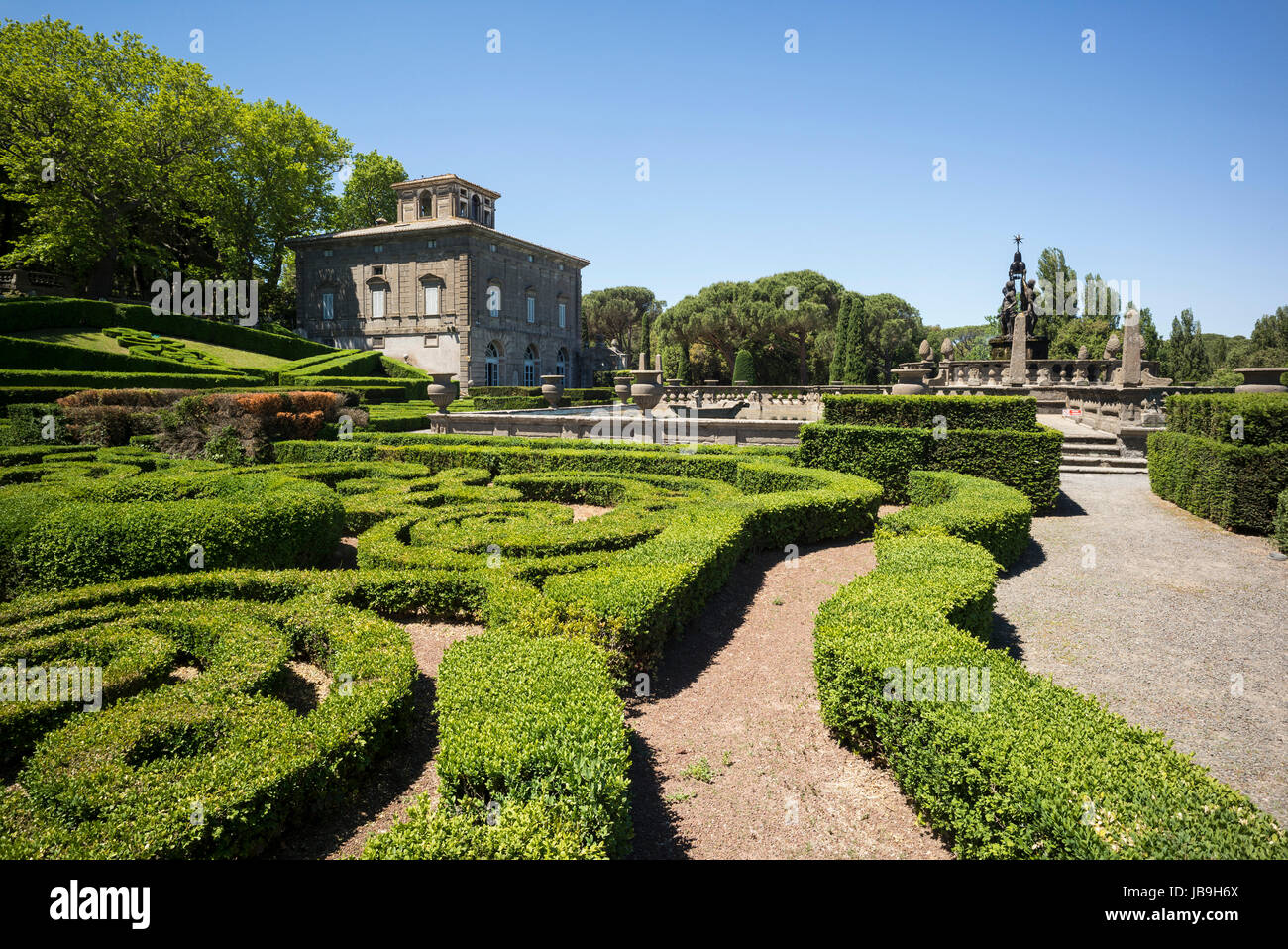 Bagnaia. Viterbo. Italy. 16th century Mannerist style Villa Lante and gardens, commissioned by Cardinal Gianfrancesco Stock Photo