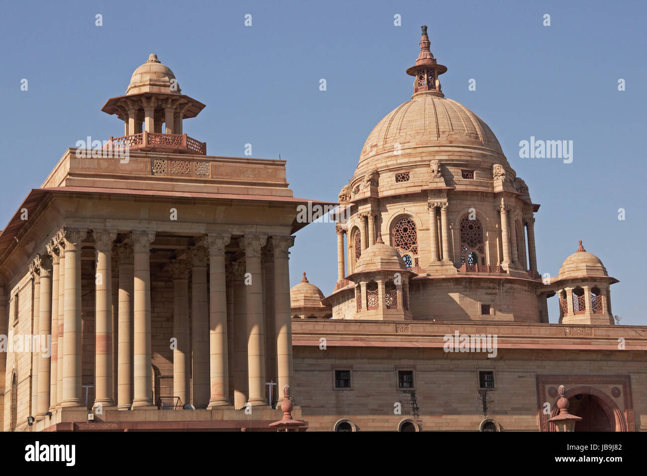 indian government buildings at the top of the raj path new delhi