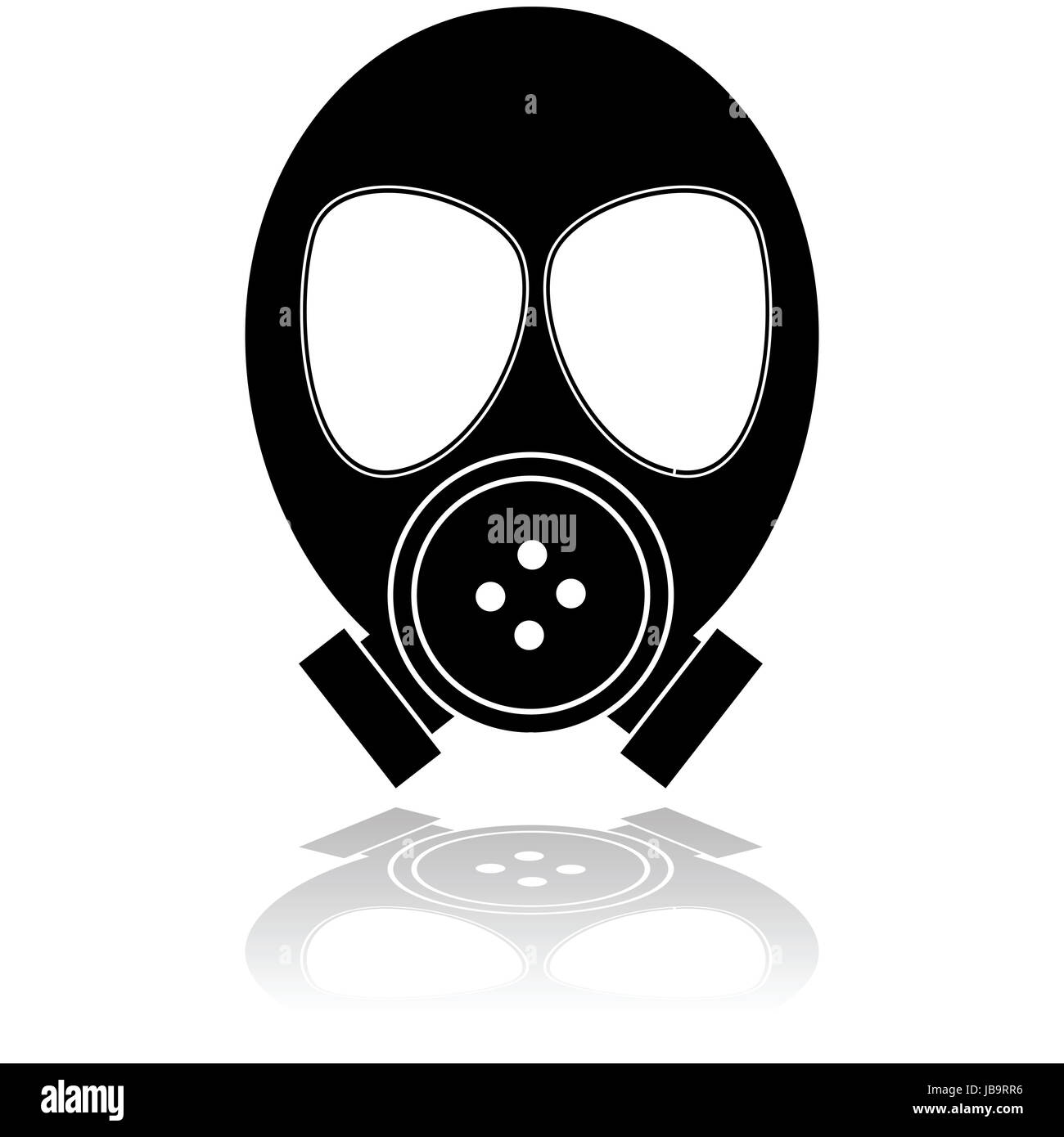 Icon illustration showing a mask used for protection against poisonous gas - Stock Image