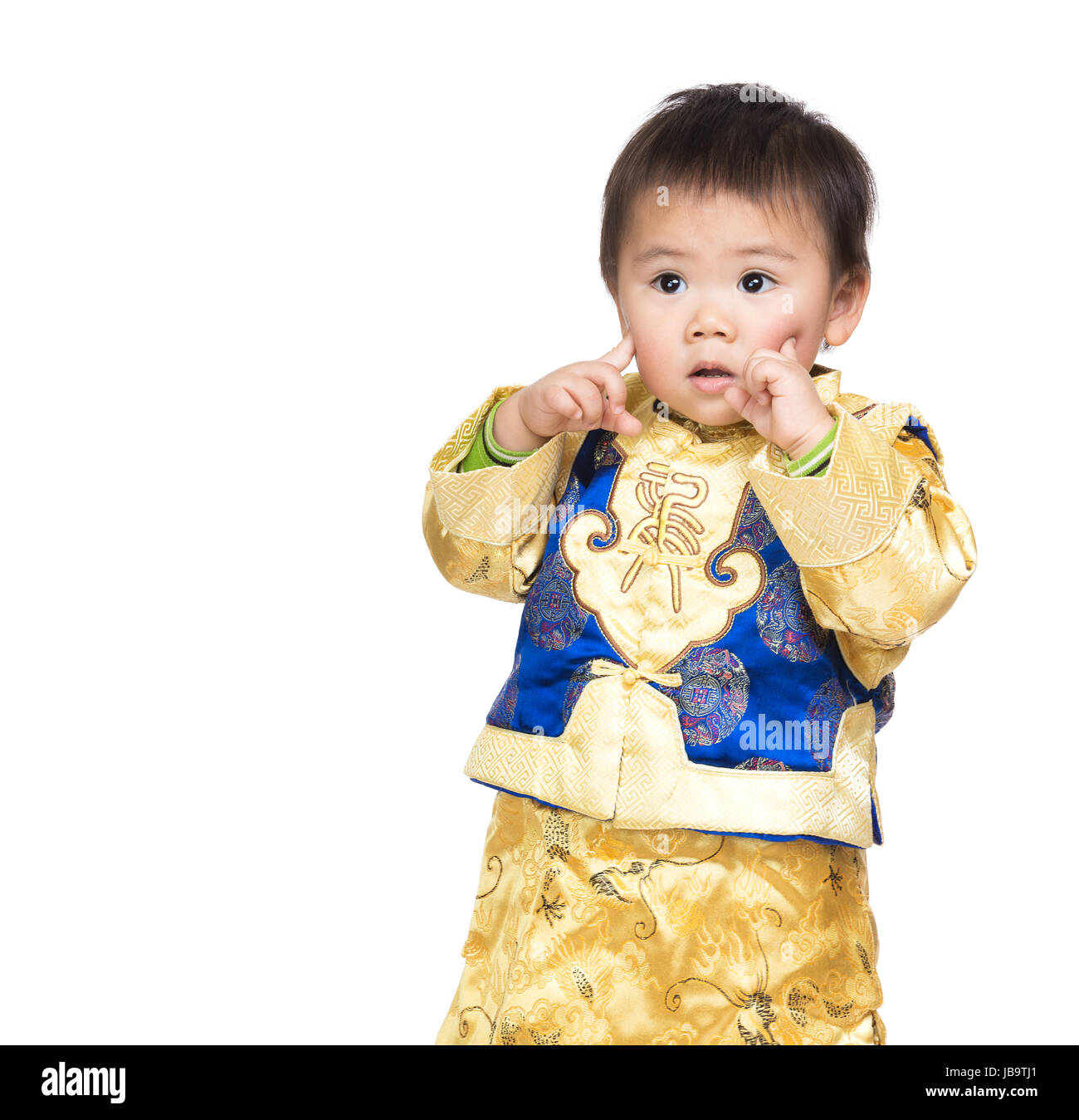 02857ec11 Asian Baby Boy With Chinese Costume And Finger Point To Face Sc 1 St Alamy
