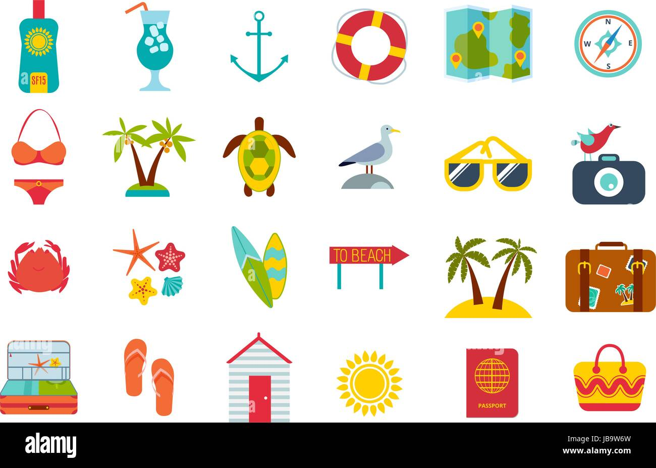 Set of summer icons. - Stock Vector