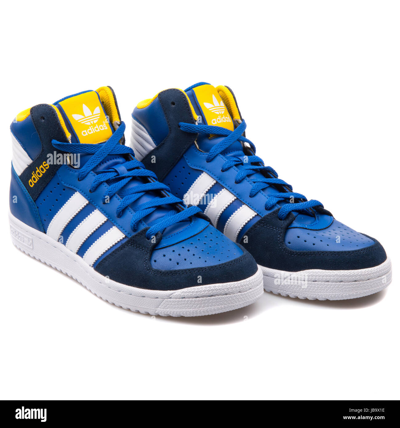 Adidas Pro Play 2 Blue, White and Yellow Men's Sports Sneakers - B35364 - Stock Image