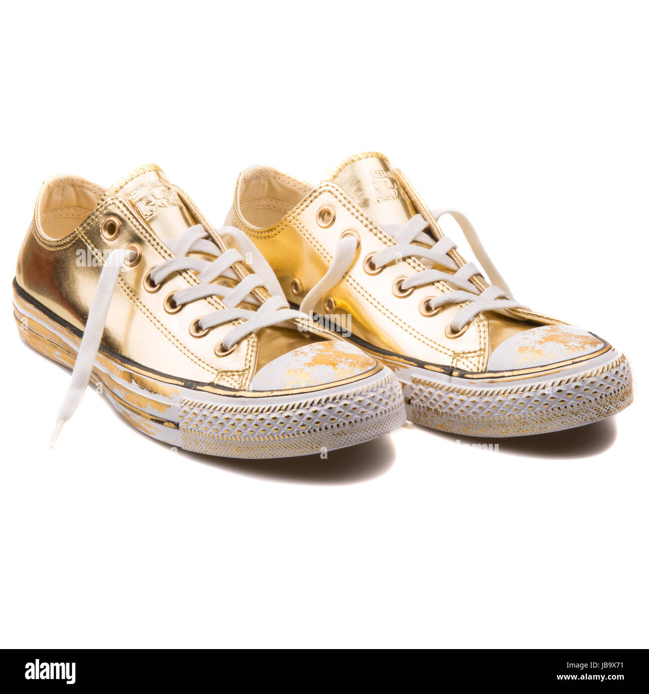 60b2cda99acb Converse Chuck Taylor All Star Chrome Gold Leather and White OX Women s  Shoes - 549653C