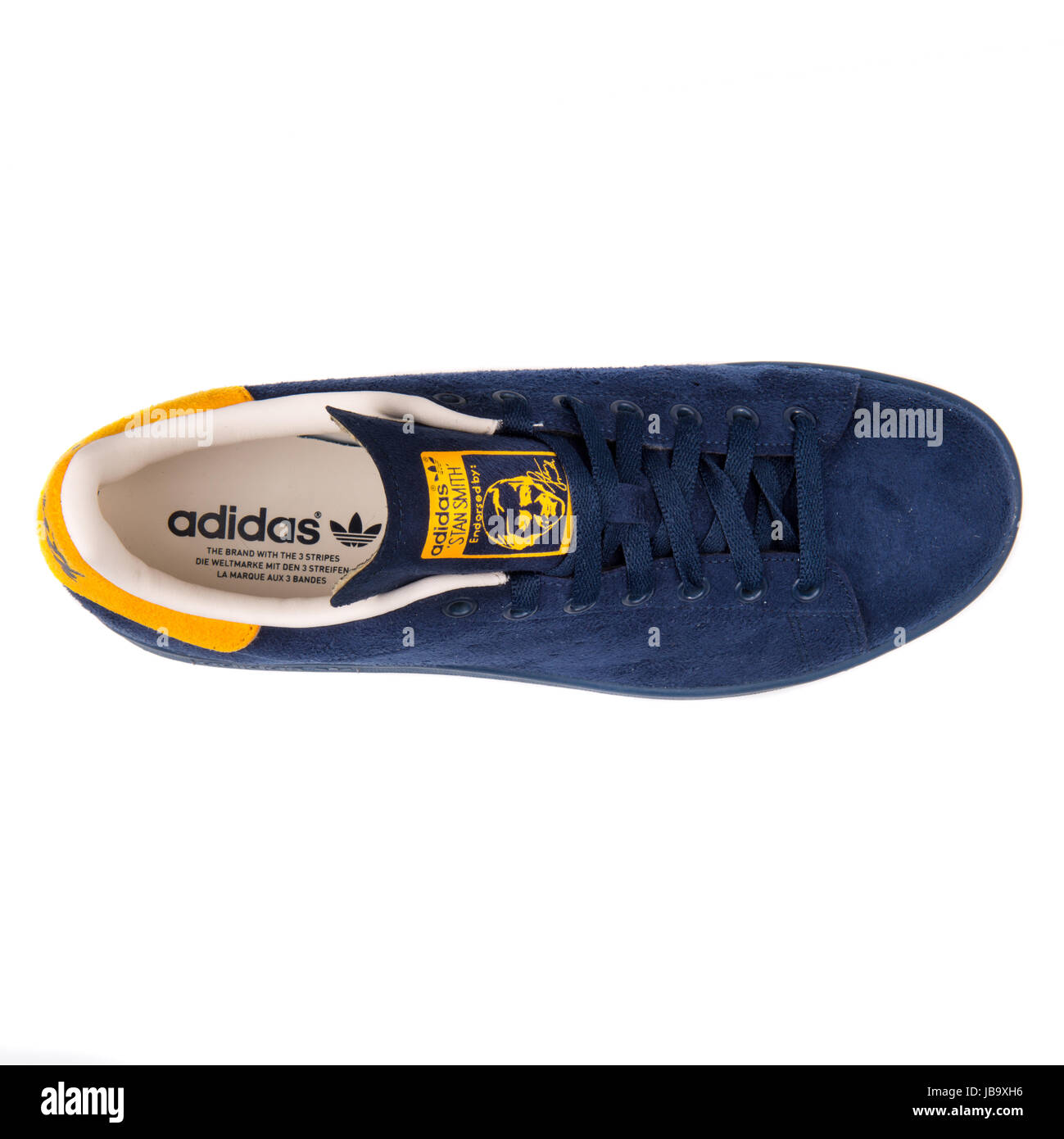 low priced 10d67 ce70e Adidas Stan Smith Navy Blue and Yellow Men s Sports Shoes - B24707 - Stock  Image
