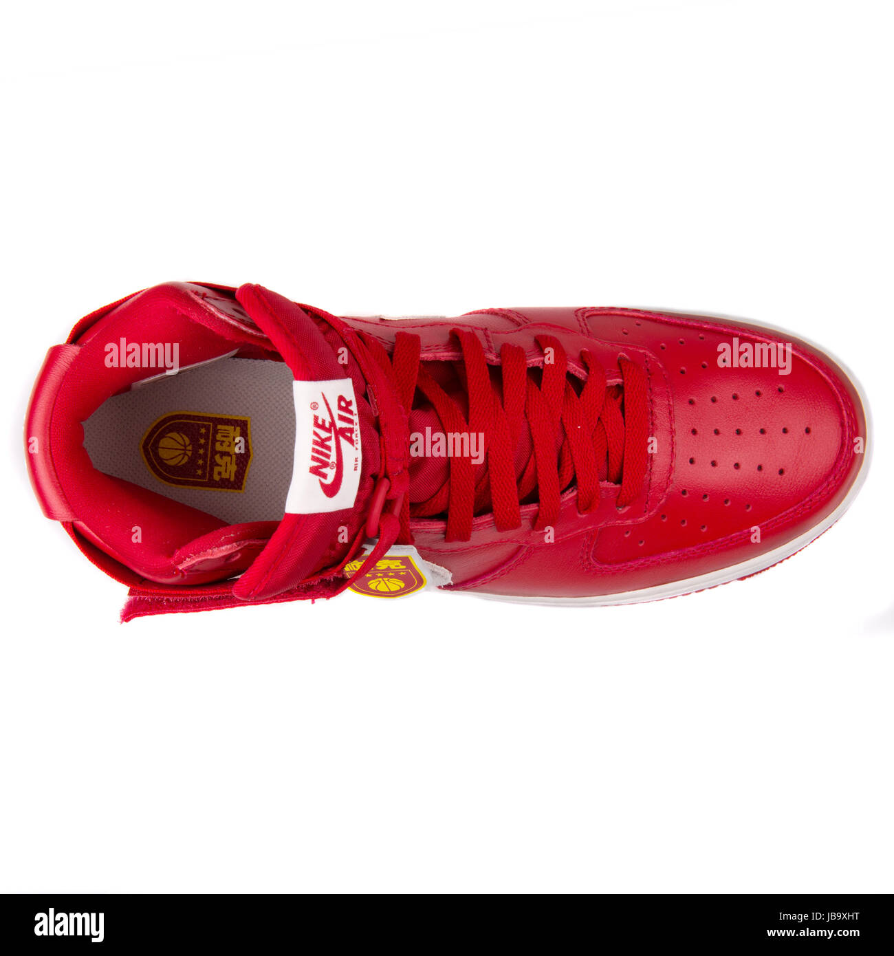 9182fb54 Nike Air Force 1 Hi Retro QS Gym Red and Summit White China Exclusive Men's  Retro Basketball Shoes - 743546-600