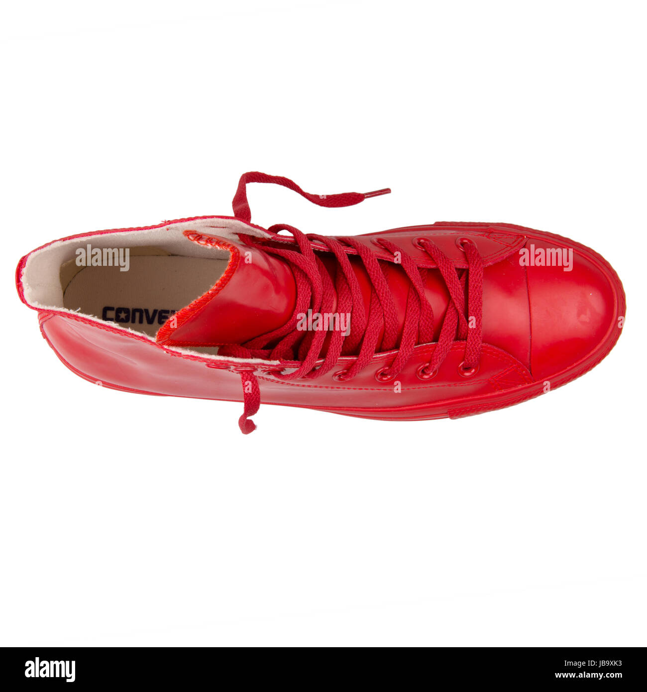 90a428a6e37 Converse Chuck Taylor All Star Hi Red Unisex Shoes - 144744C - Stock Image