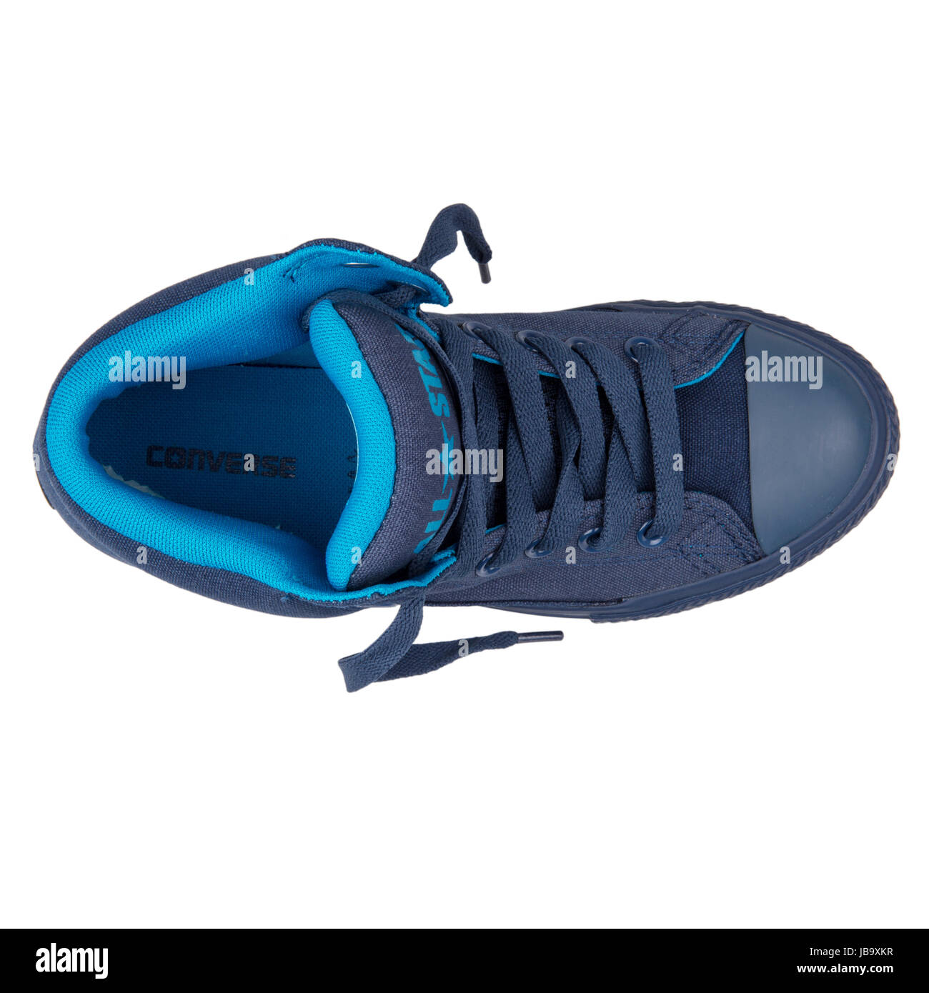 994b1b1ac04 Converse Chuck Taylor All Star High Street Navy Cyan Blue Junior s Shoes -  650117C - Stock