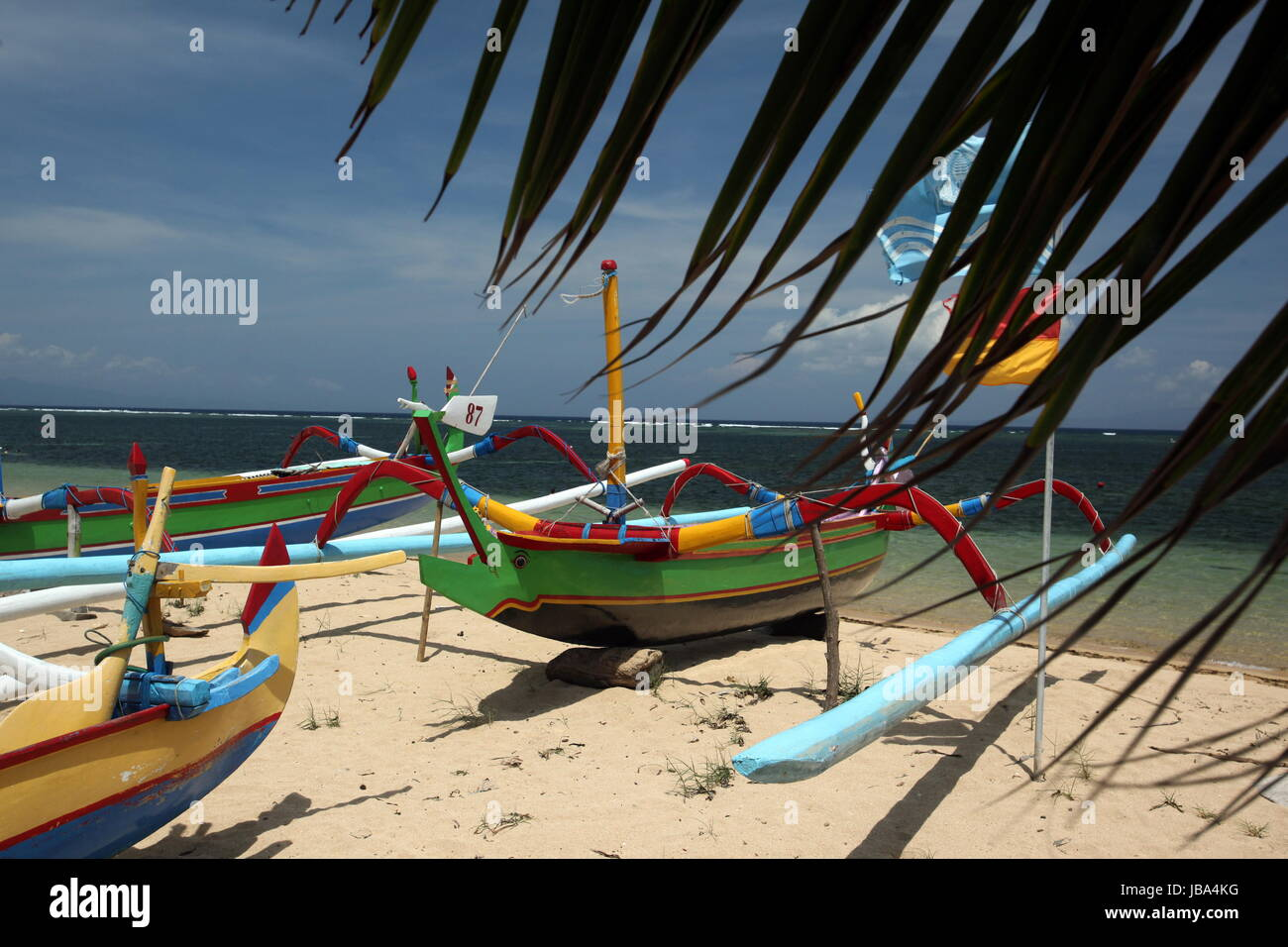 Asien, Suedost, Indonesien, Bali, Insel, Sanur, Strand, Fischerboot,  (Urs Flueeler) - Stock Image