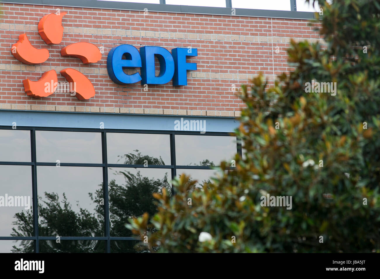 A logo sign outside of a facility occupied by EDF Trading Limited in Houston, Texas, on May 27, 2017. - Stock Image
