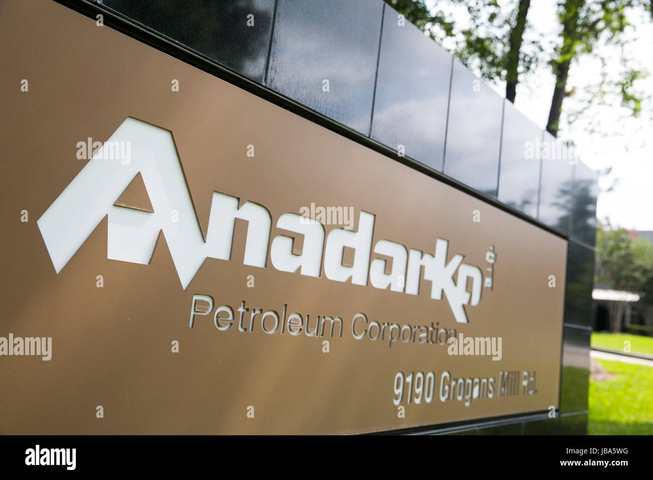 A logo sign outside of a facility occupied by the Anadarko