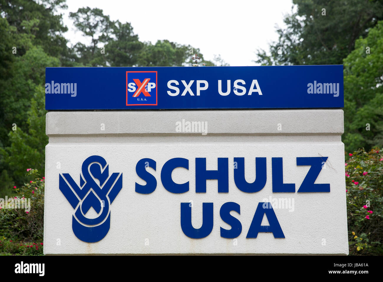 A logo sign outside of a facility occupied by Schulz USA in Houston, Texas, on May 28, 2017. - Stock Image