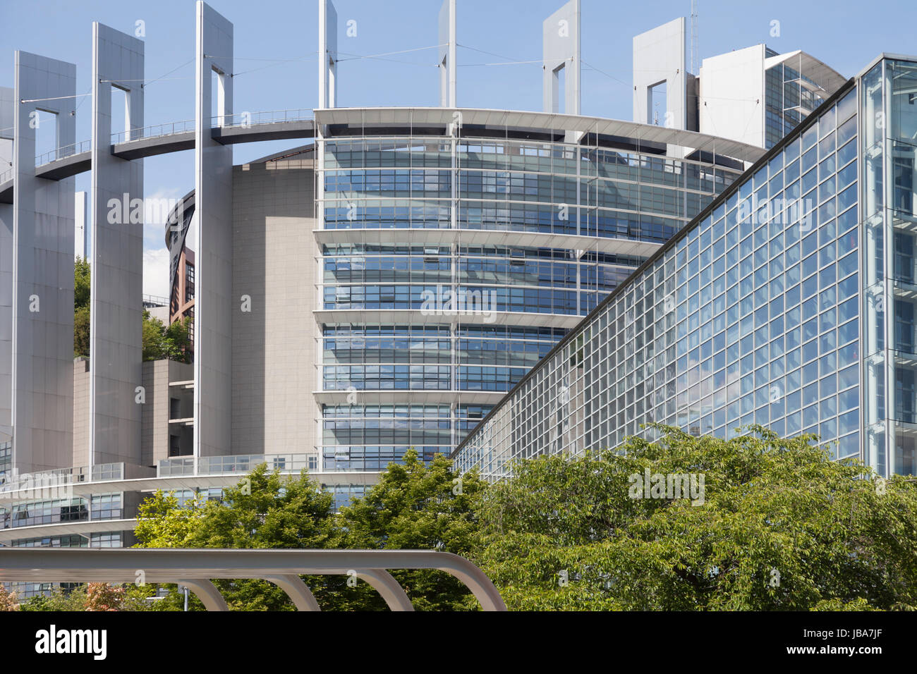Tower of the Louise Weiss Building of the Eruopean Parliament in Strasbourg, France, designed by AS.Architecture - Stock Image
