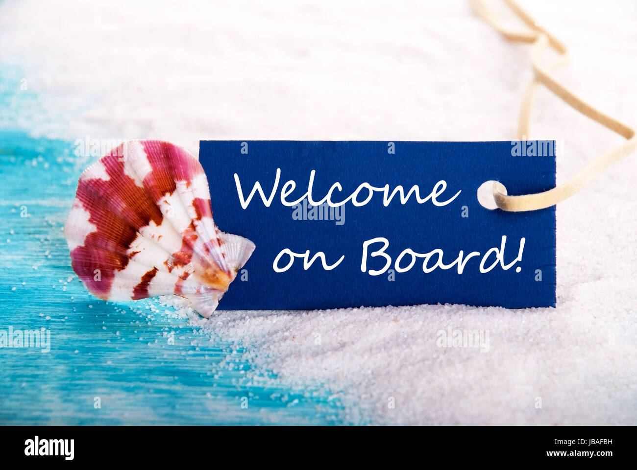 Beach Background With Label With Welcome On Board On It Stock Photo