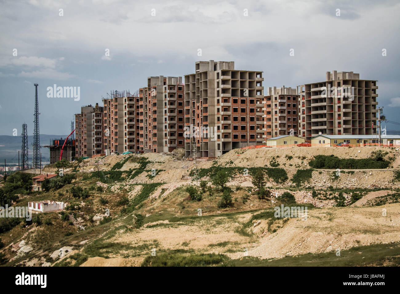Public housing constructions made in the suburbs of a city Stock Photo