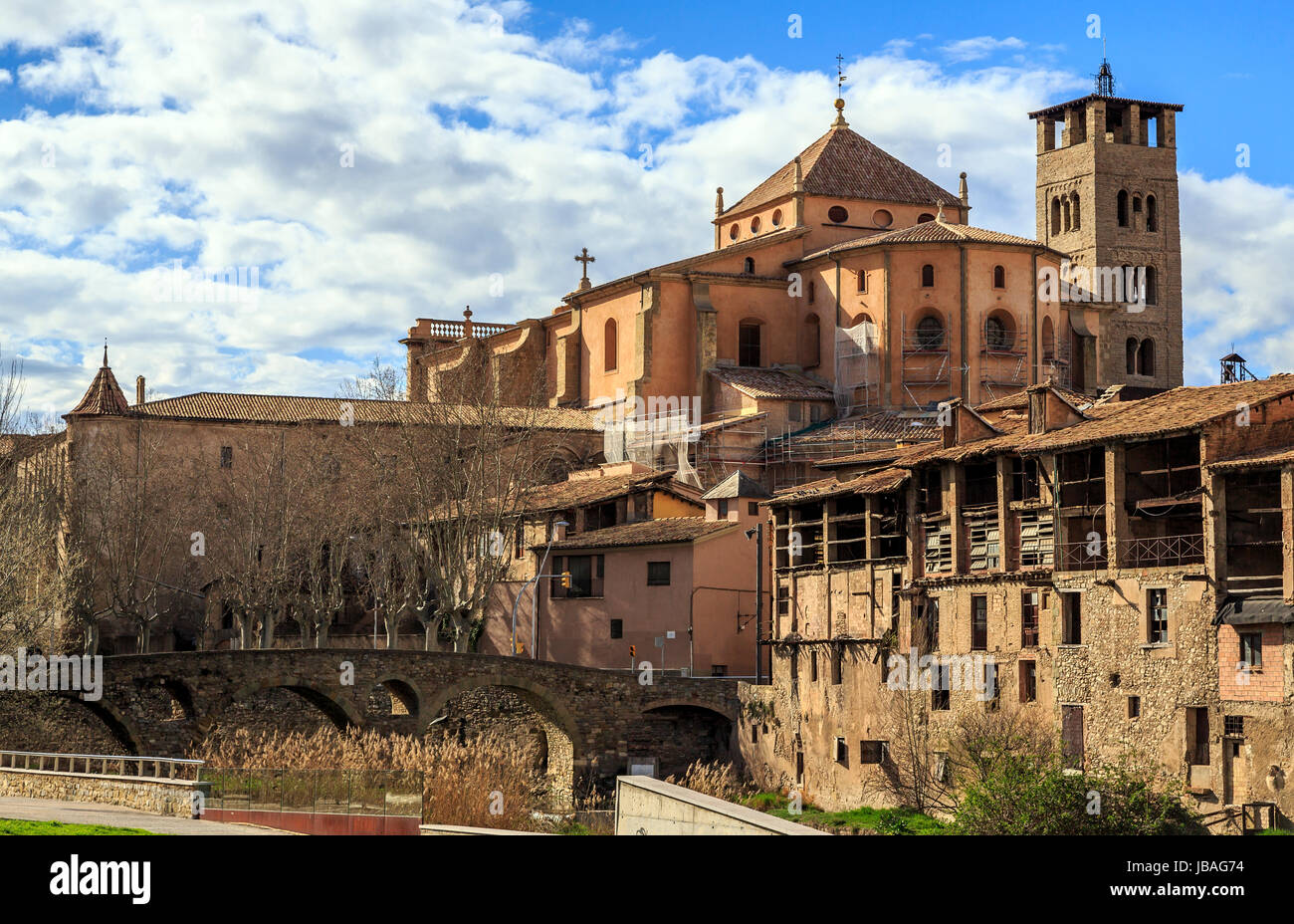 Vic, view of the Roman bridge and cathedral, Spain - Stock Image