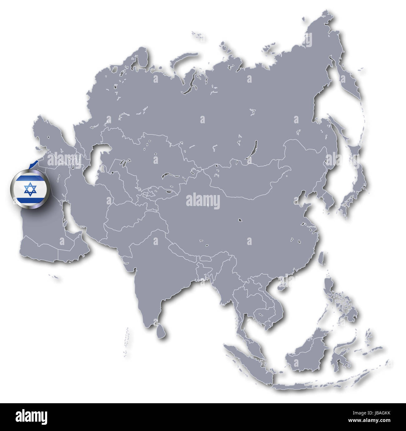 asia map with israel - Stock Image