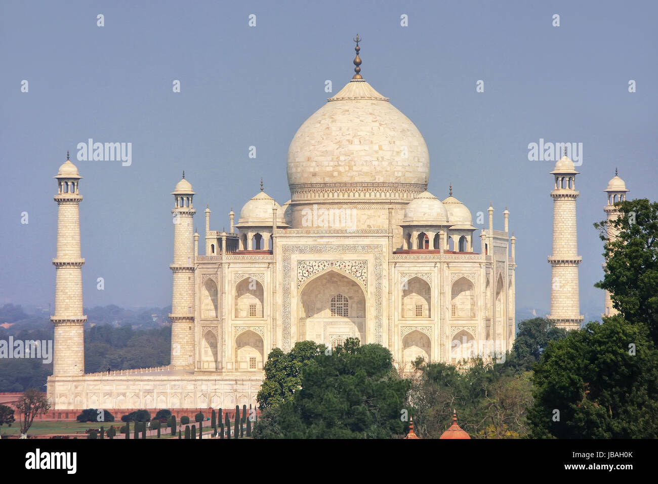 View of Taj Mahal in Agra, Uttar Pradesh, India. It was build in 1632 by Emperor Shah Jahan as a memorial for his - Stock Image