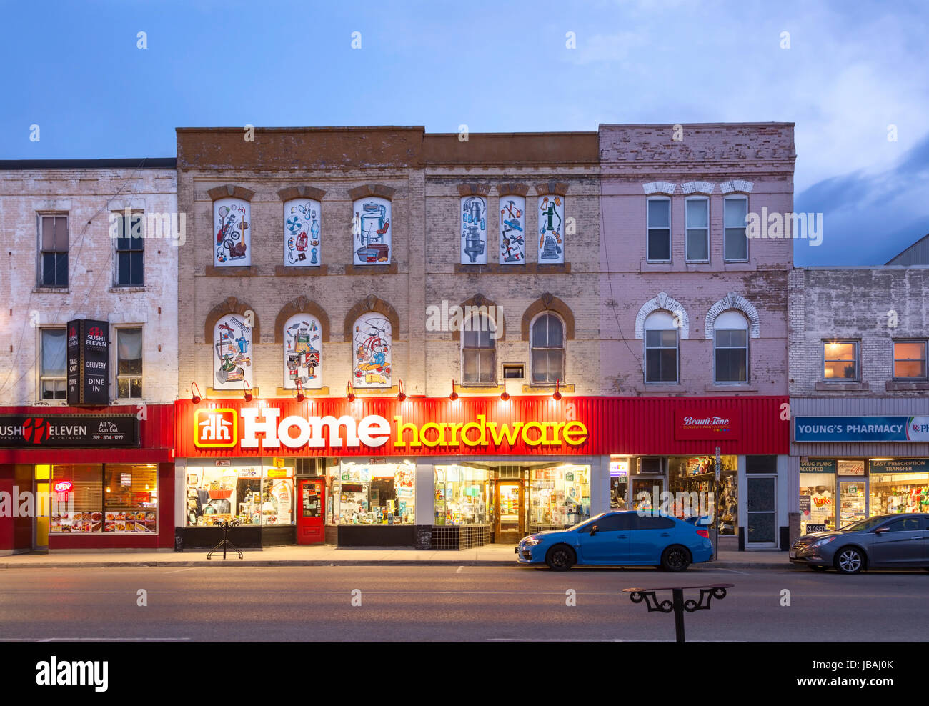 A Home Hardware store that occupies a historical heritage building in downtown Ingersoll, Oxford County, Ontario, - Stock Image