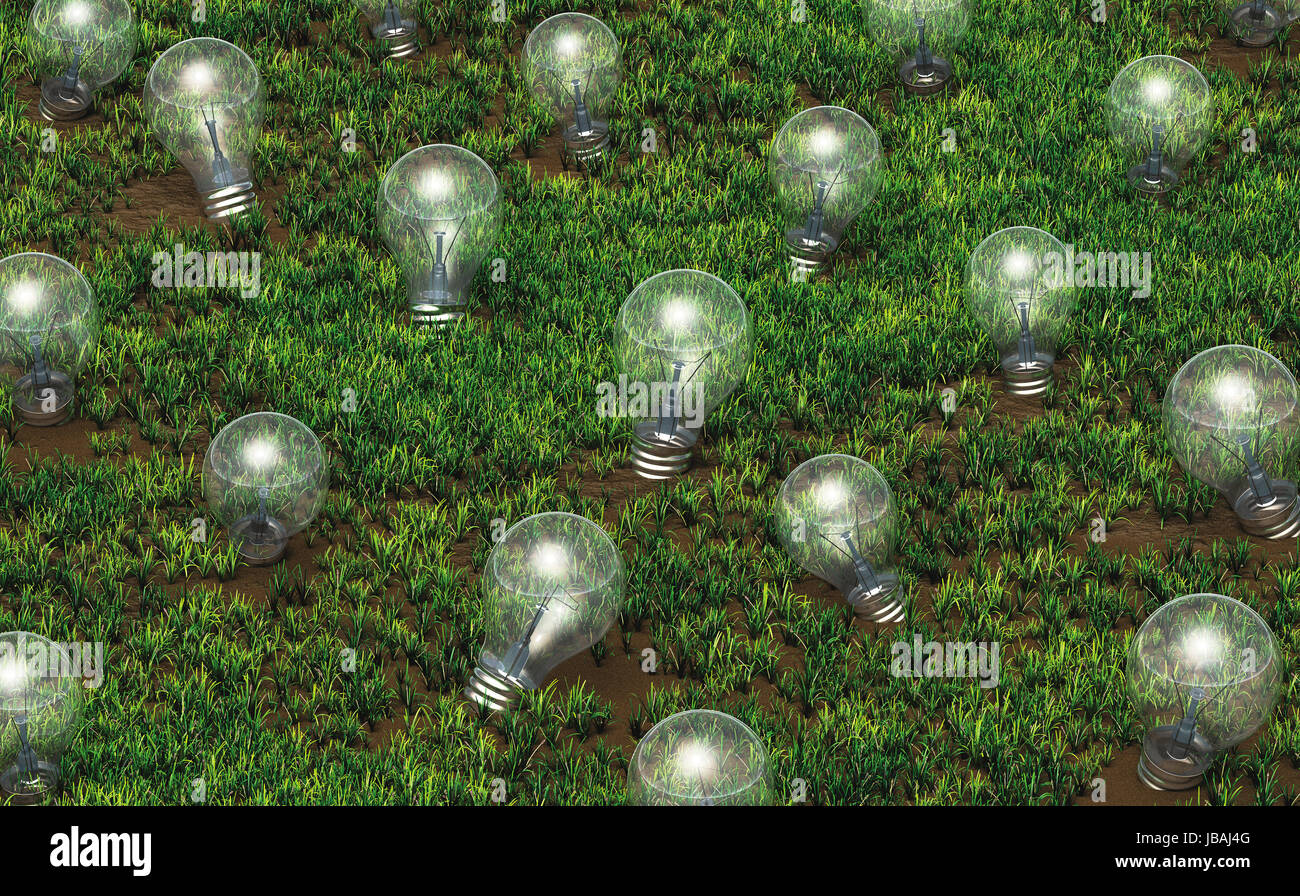 some unlit light bulbs with different size are growing as ideas on a grassy soil like plants - Stock Image