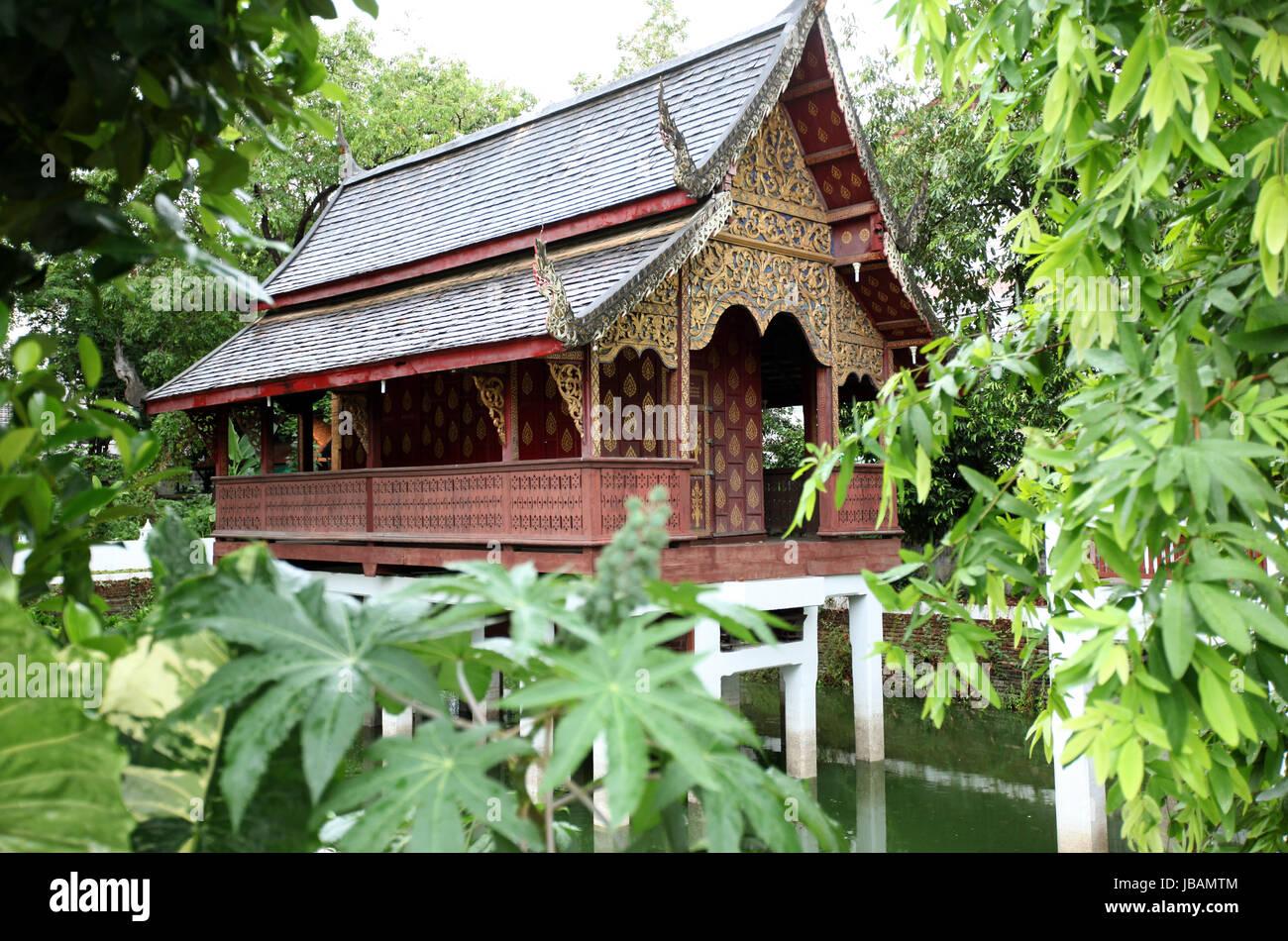 Ein kleines Haus im Wat Chiang Man in Chiang Mai in der Provinz Chiang Mai im Norden von Thailand in Suedostasien. - Stock Image