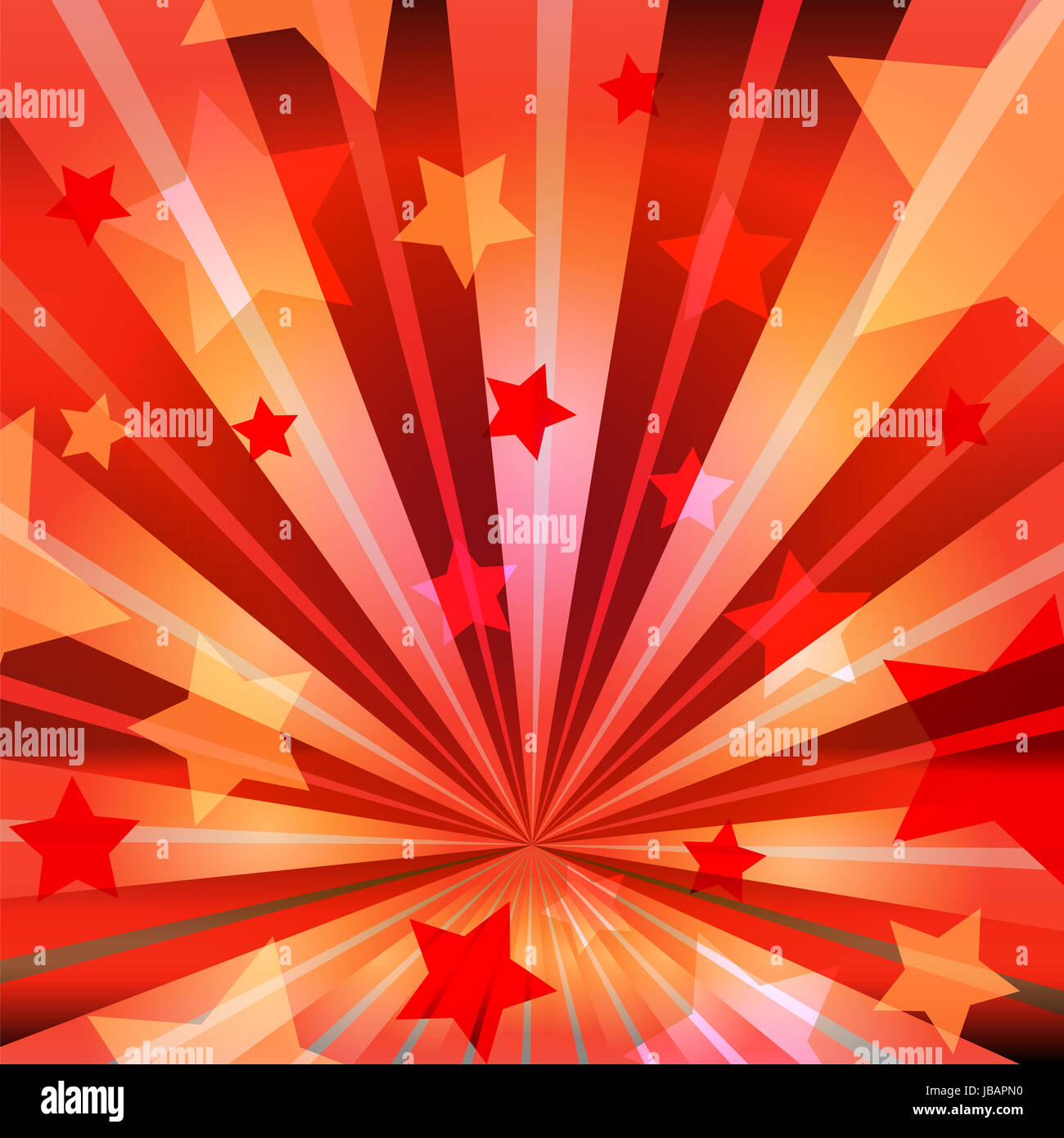 stars on a red background with radiating rays Stock Photo