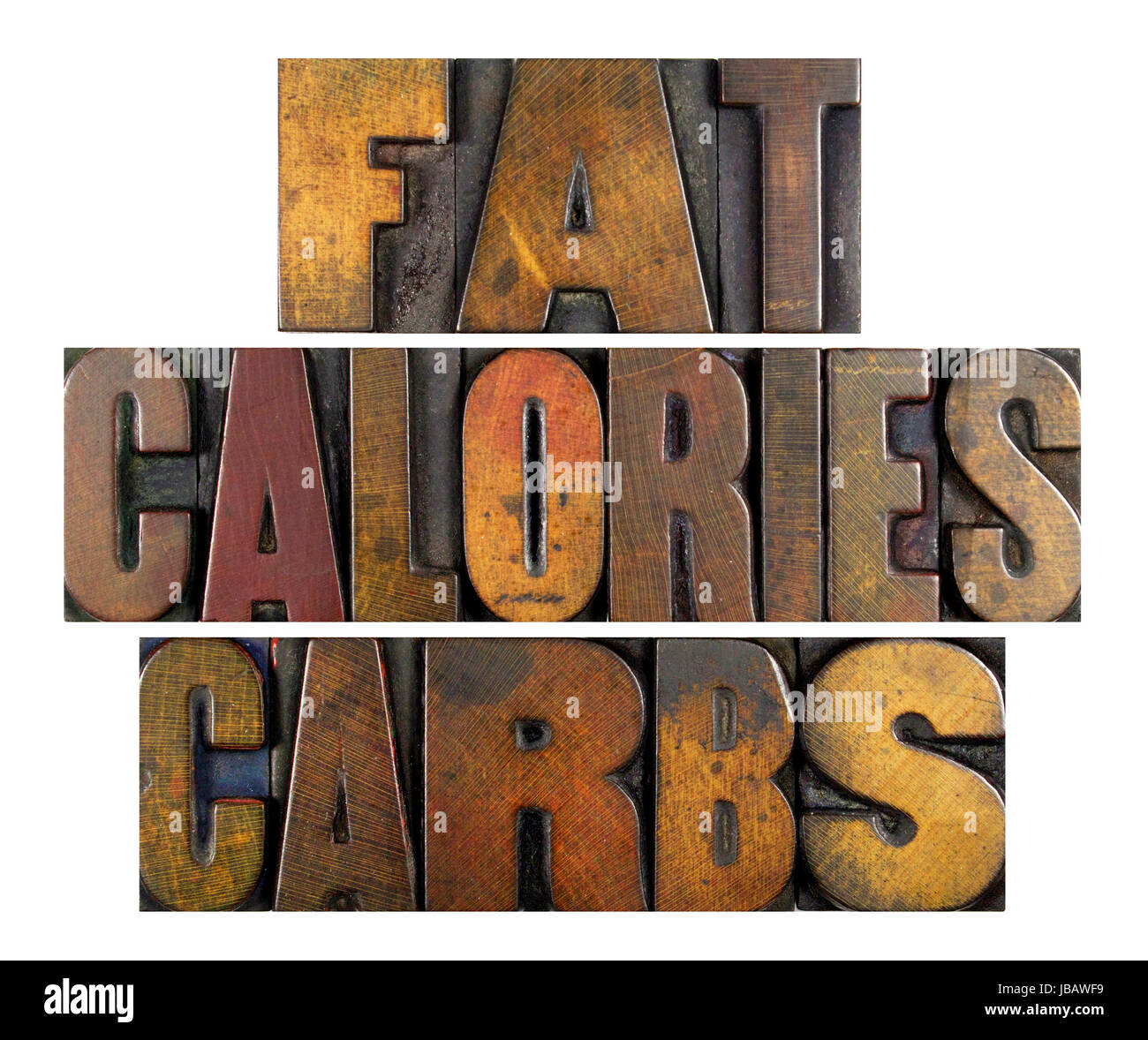 The words FAT CALORIES CARBS written in vintage letterpress type Stock Photo