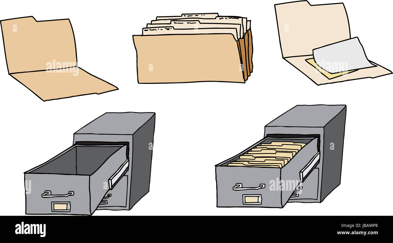 Folders, documents and filing cabinets over white background Stock Photo