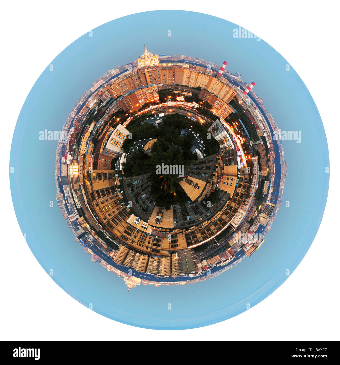 little planet - urban spherical panoramic view of residential area in Moscow in evening isolated on white background - Stock Image