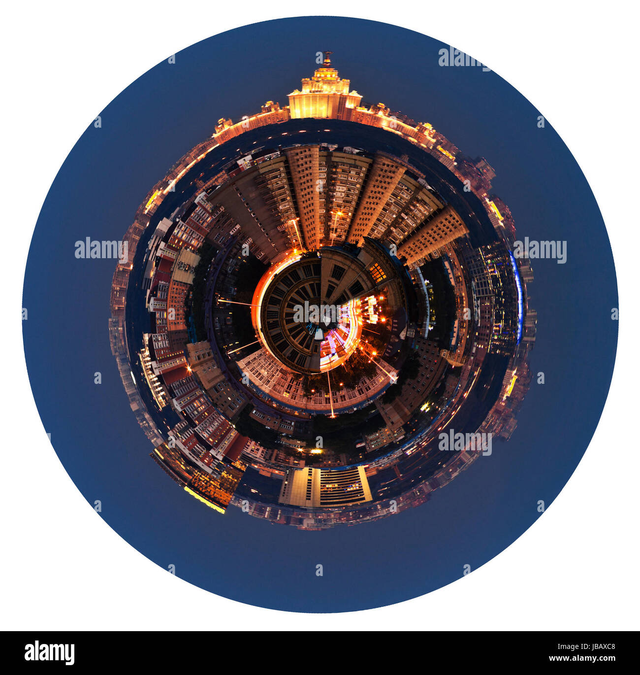 little planet - urban spherical panoramic view of residential area in Moscow in night isolated on white background - Stock Image