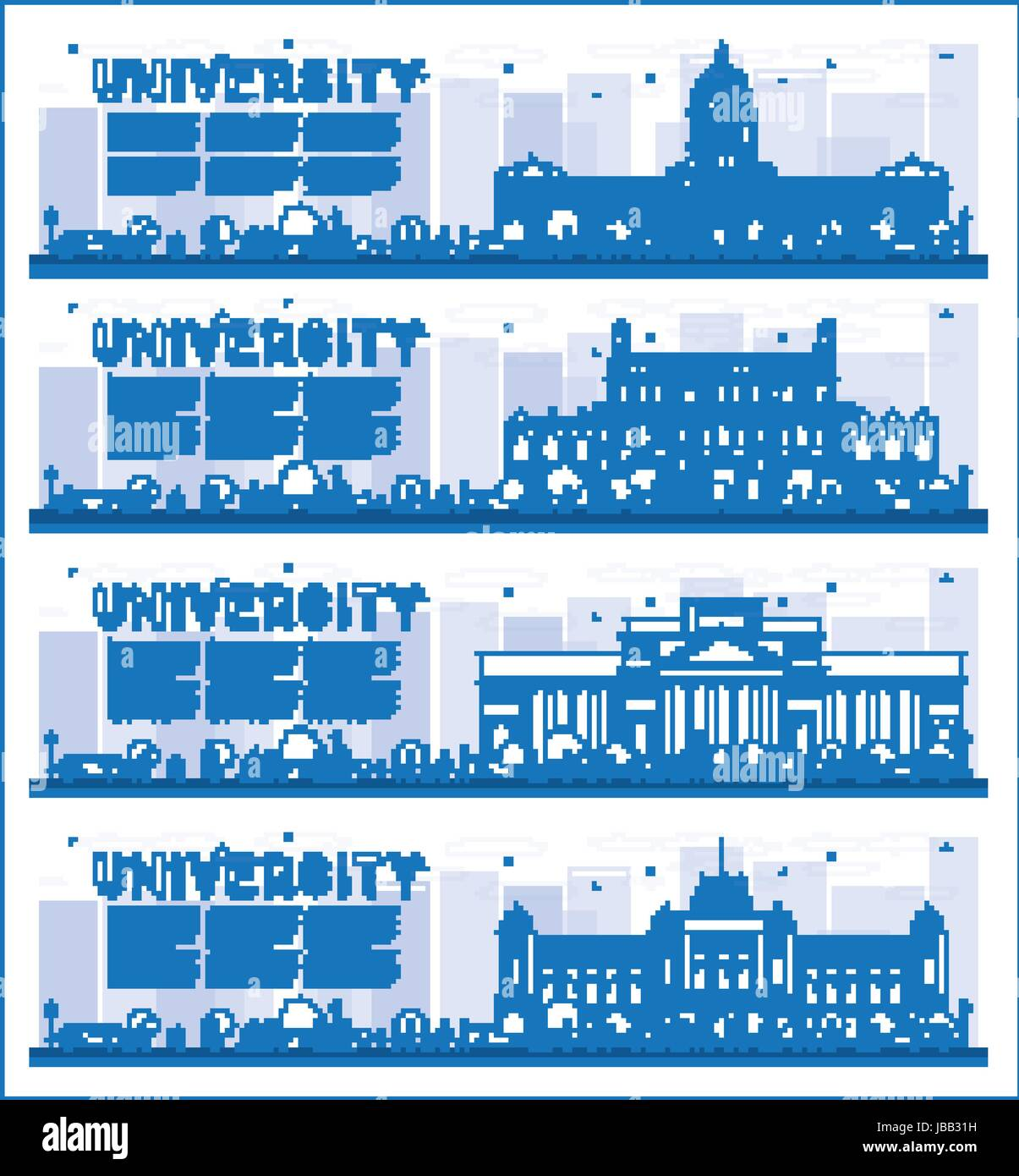Outline Set of University Study Banners. Vector Illustration. Students Go to the Main Building of University. Banner - Stock Image