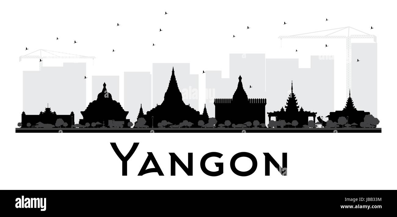 Yangon City skyline black and white silhouette. Simple flat concept for tourism presentation, banner, placard or Stock Vector
