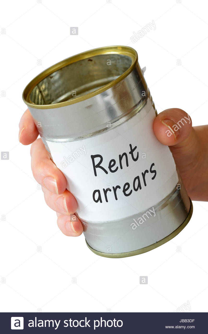 Rent arrears, empty begging can, England, UK - Stock Image