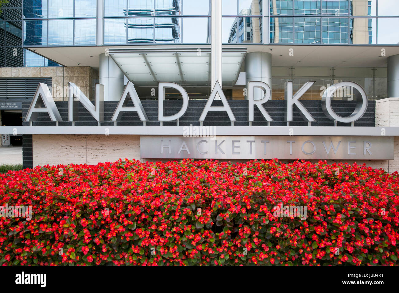 A logo sign outside of the headquarters of the Anadarko