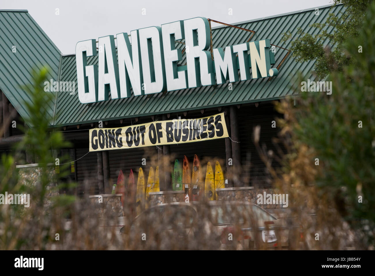 "A ""Going Out Of Business"" banner at a Gander Mountain retail store in Houston, Texas, on May 28, 2017. Stock Photo"