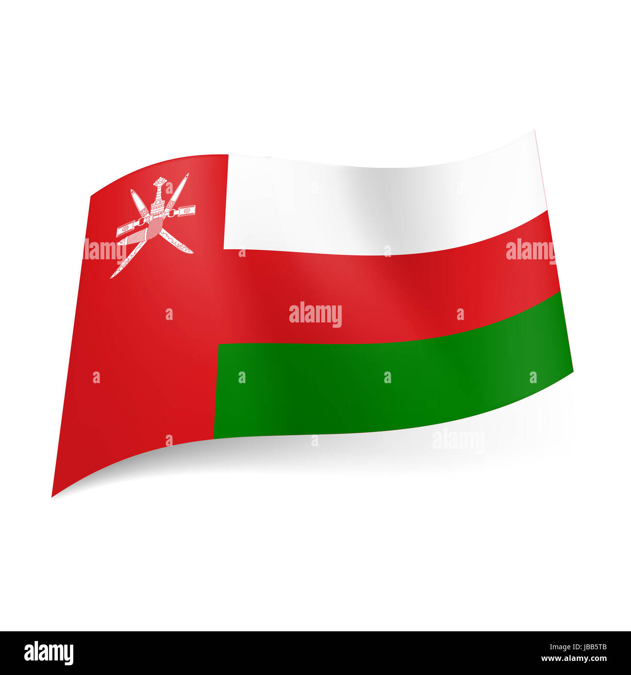 National flag of Oman: white, red and green horizontal stripes, vertical red band with national emblem on lest side - Stock Image