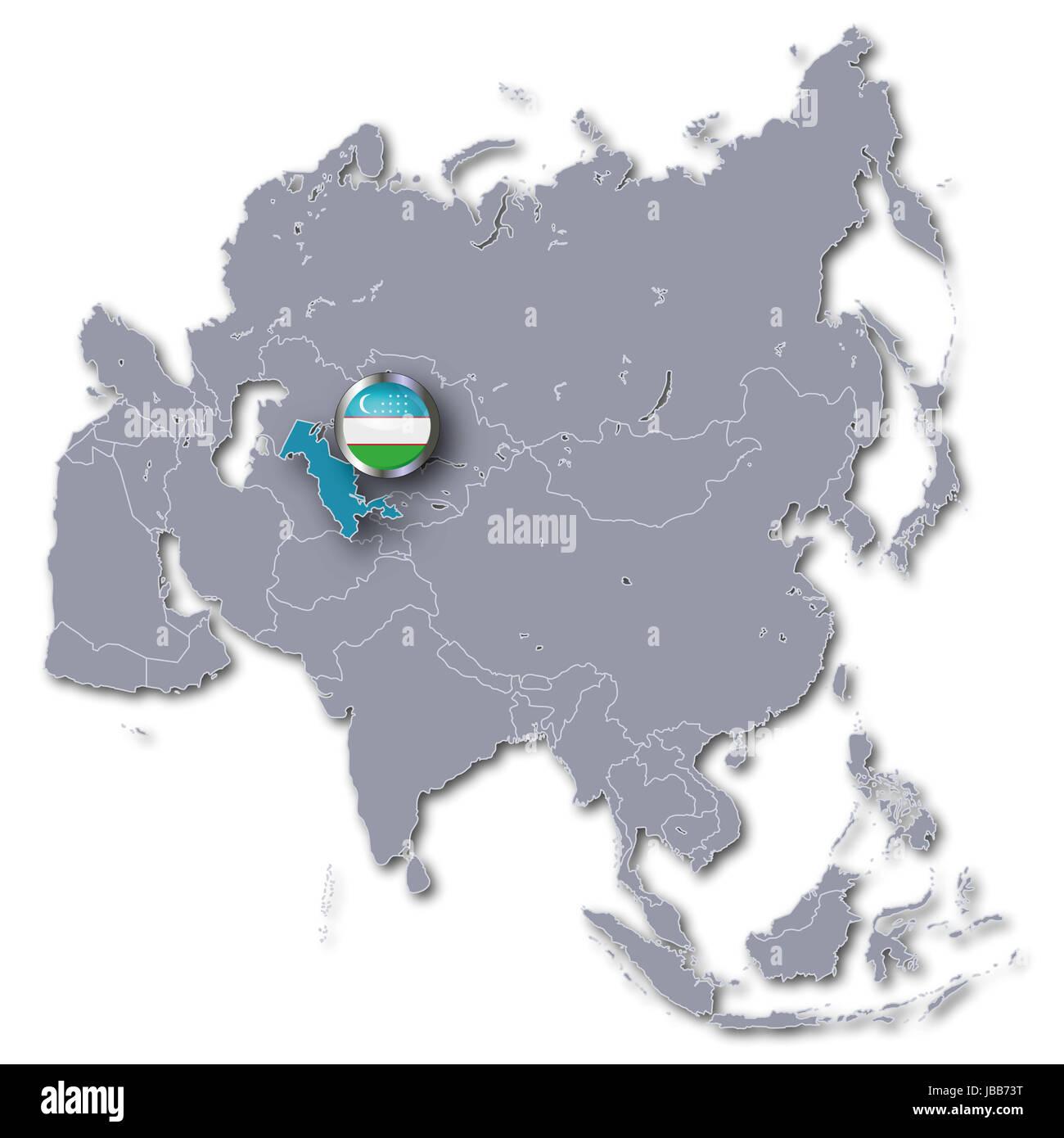 asia map with uzbekistan Stock Photo