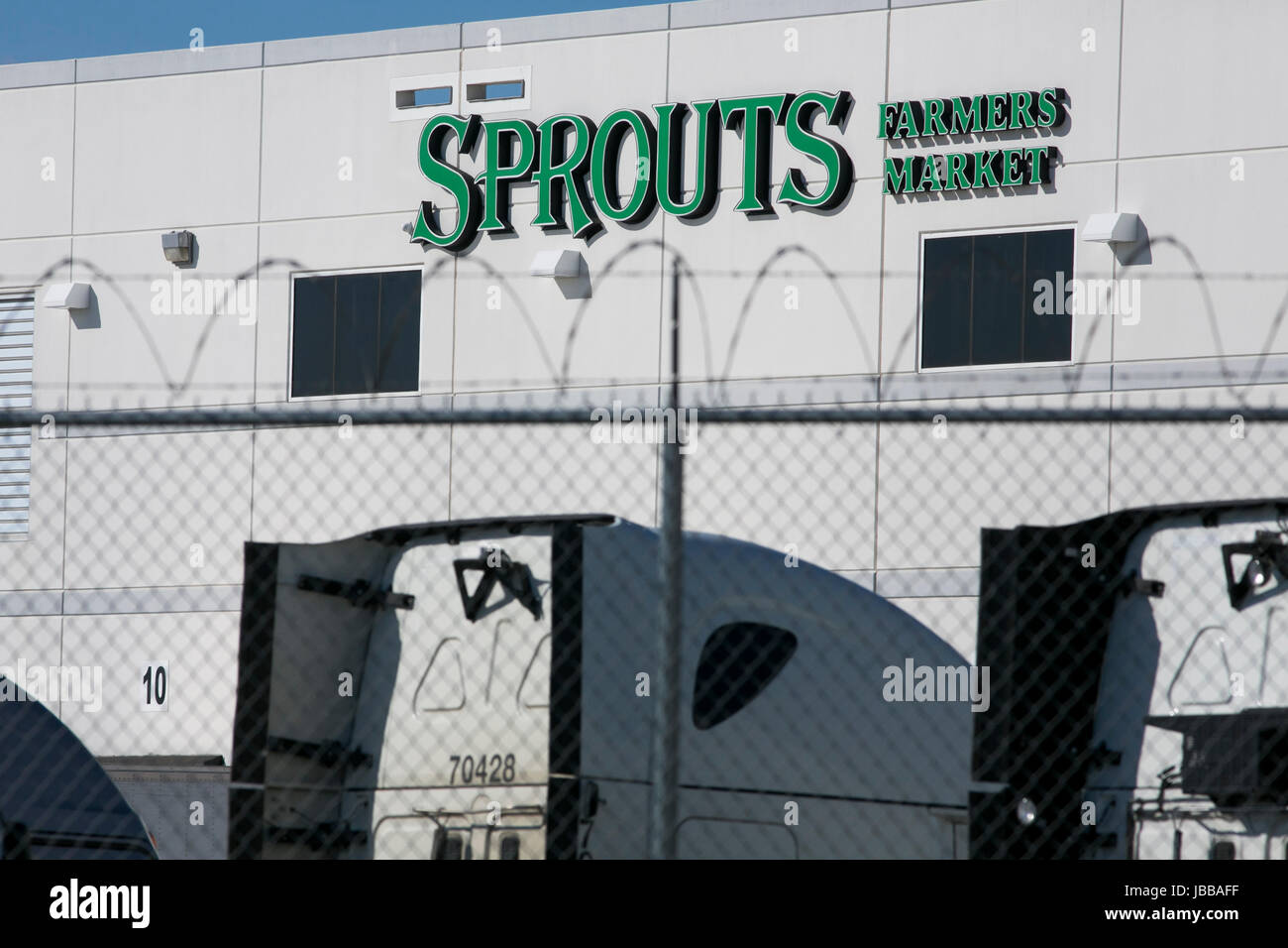 A logo sign outside of a Sprouts Farmers Market, Inc., distribution center in Wilmer, Texas, on May 29, 2017. - Stock Image