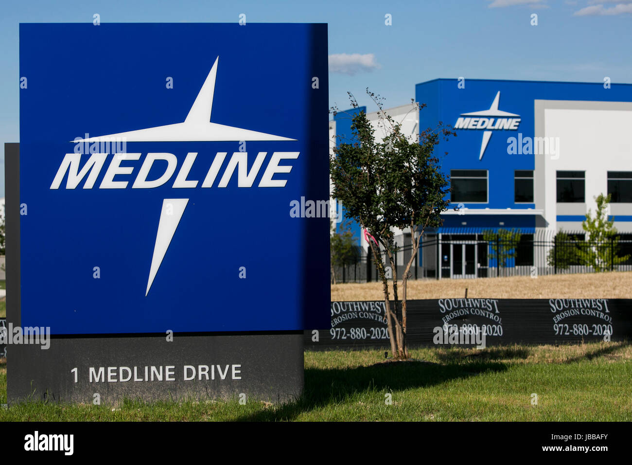 A logo sign outside of a facility occupied by Medline Industries