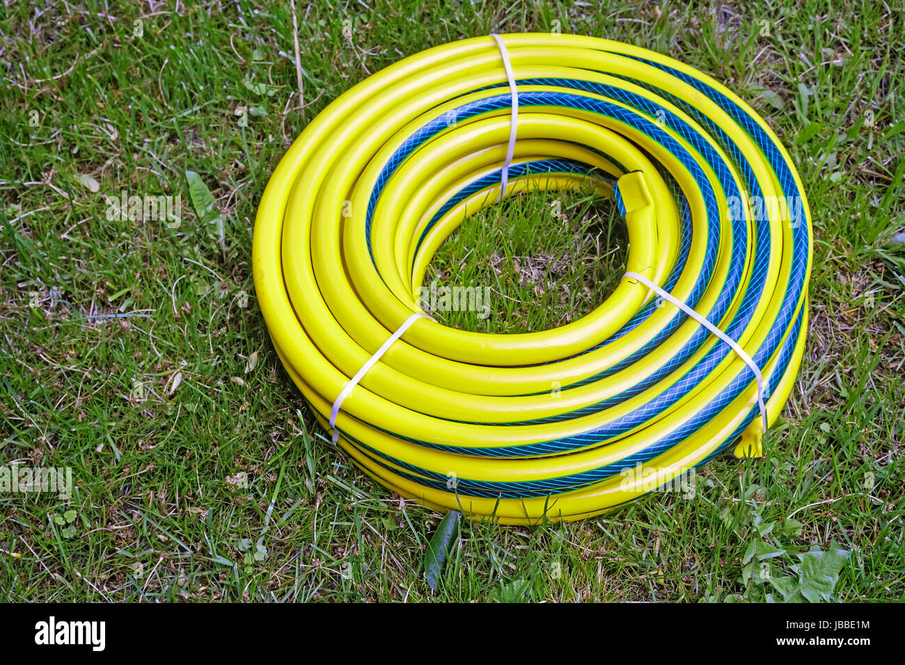 In The Garden Lies Coiled In The Form Of A Round Plastic Water Hose For  Watering Plants In The Garden And The Vegetable Garden.