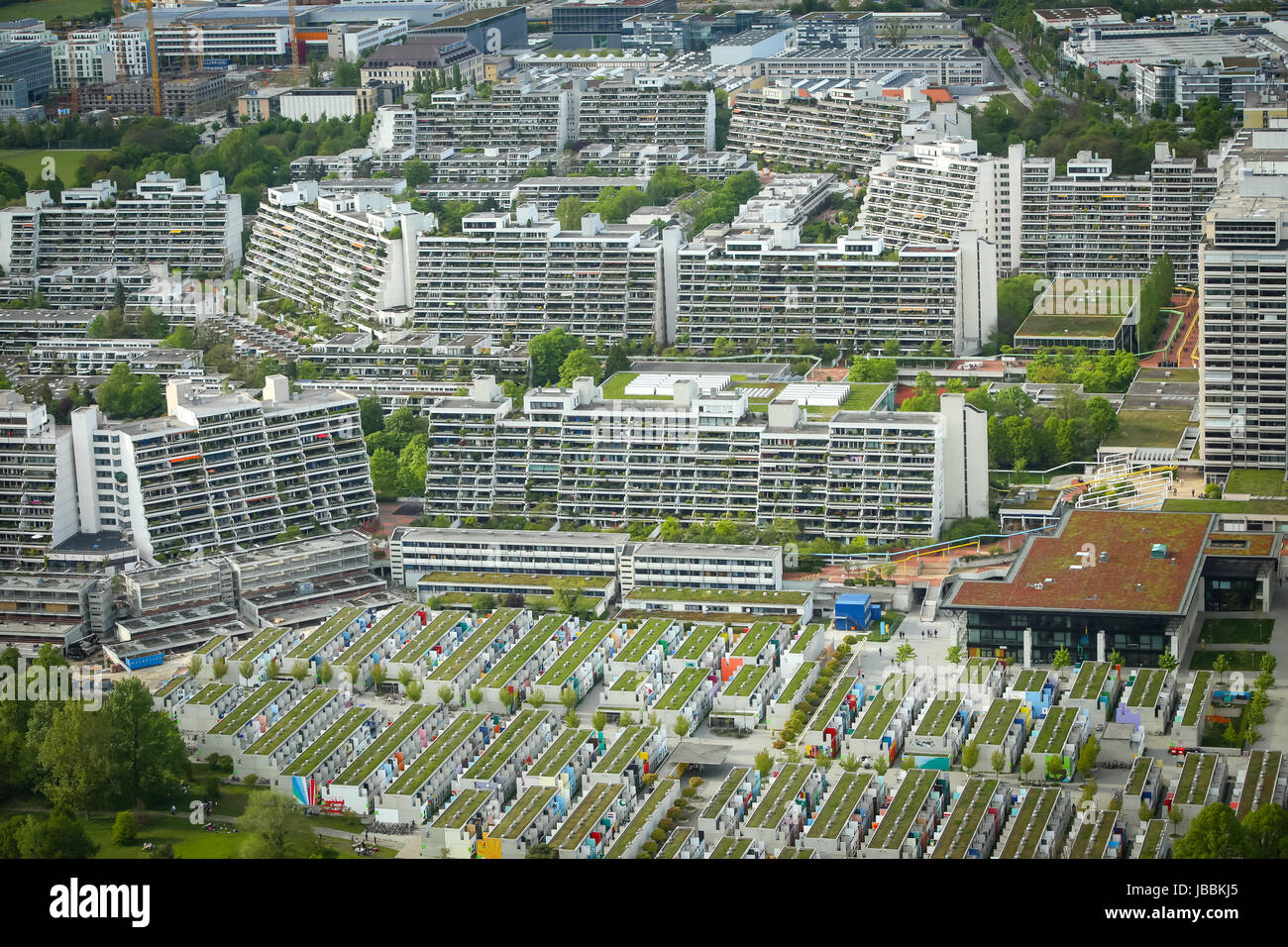 MUNICH, GERMANY - MAY 6, 2017 : Aerial view of the Olympic Village from Olympic Tower in Munich, Germany. The Olympic - Stock Image
