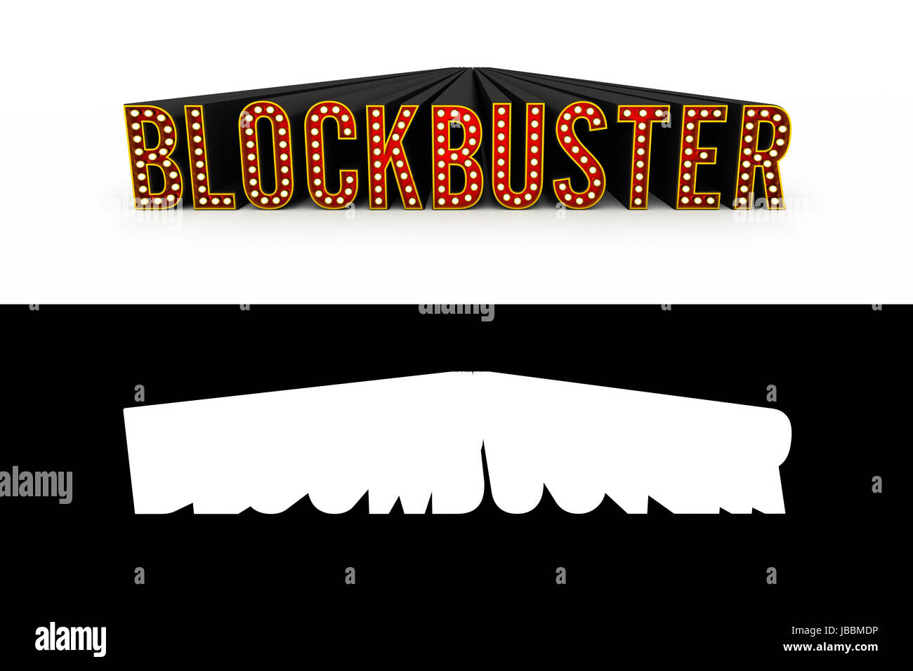 Typical theater style letters spelling the word Blockbuster with alpha map added for quick and easy isolation - Stock Image