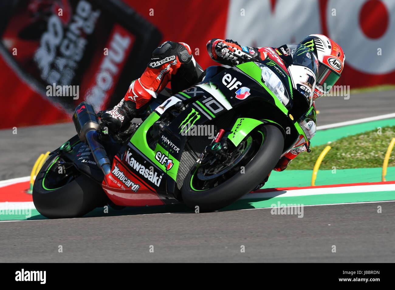 San Marino, Italy - May 12: Jonathan Rea of Great Britain Kawasaki Racing Team rides during qualifyng session at - Stock Image