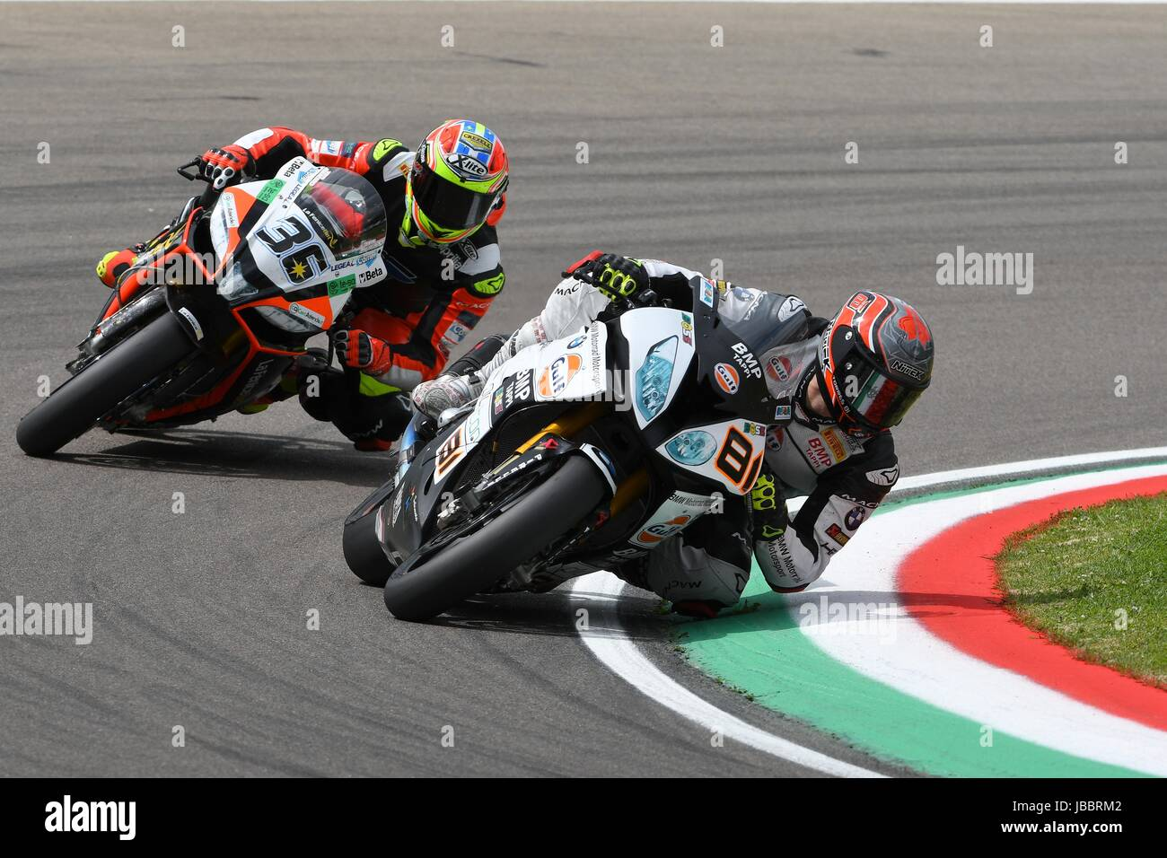 San Marino, Italy - May 12: Jordi Torres ESP BMW S 1000 RR Althea BMW Racing Team during qualifyng session at the Stock Photo