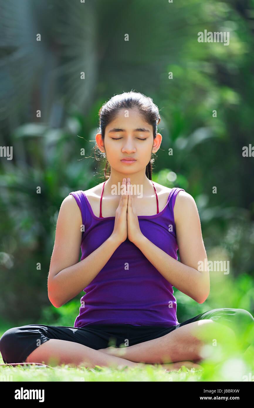 1 Indian Young Girl Morning Yoga Meditation Surya Namaskar Exercise Stock Photo Alamy