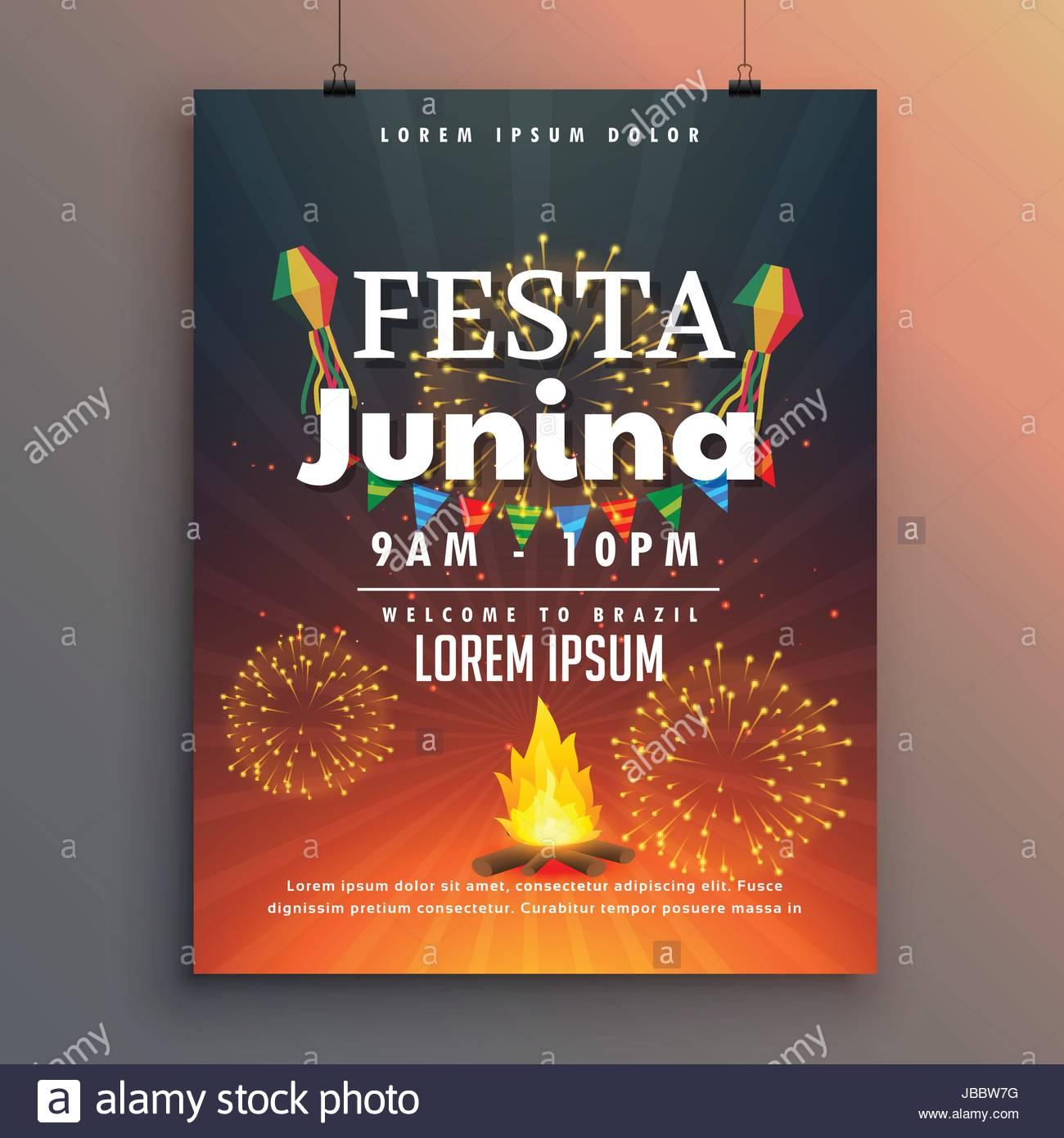 festa junina flyer design for latin american holiday
